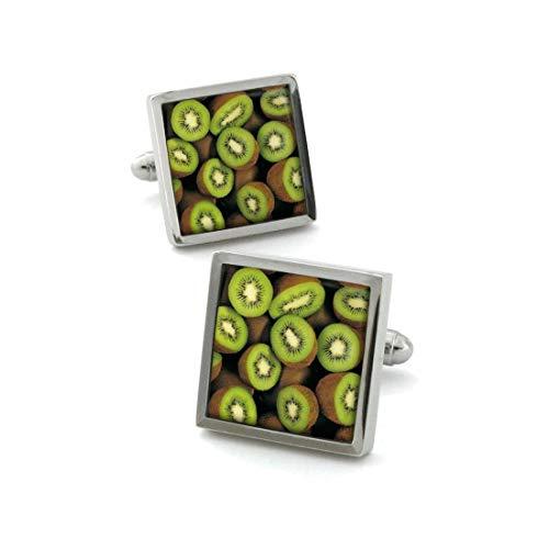Robert Charles. Boutons de Manchette. Fruit Kiwi, Acier rhodié. Vert, Motifs.