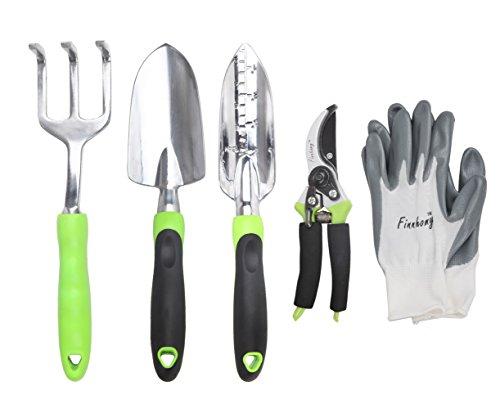 Finnhomy 5 Piece Garden Tools, Gardening Tools, Gardening Hand Tools, Gardening Gift Tool Set for Women, Garden Kit with Pruning Shears & Gardening Gloves