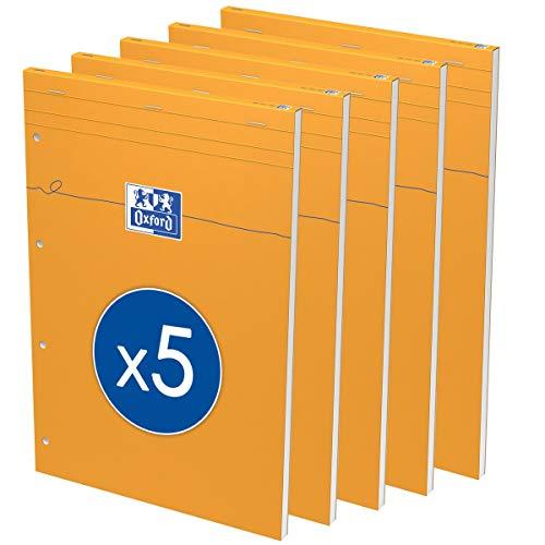 OXFORD Lot de 5 Bloc-Notes Perforé Orange A4+ Grands Carreaux SEYÈS 80 Feuilles Agrafées Couverture Carte Enduite Orange