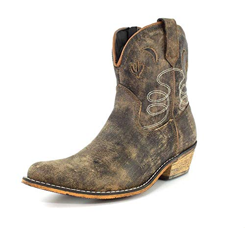Dingo Womens Taupe Adobe Rose 7in Cactus Leather Cowboy Boots 9.5 M