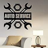 guijiumai Auto Service Logo Sticker Vinyle Autocollant De Réparation De La Station De Voiture Signe Garage Décorations Murales Fenêtre Amovible Décor À La Maison Rose 57X58 CM