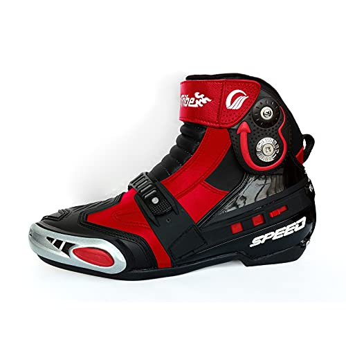 FDYZS Botas de Motocicleta Impermeable para Hombre Moto Antideslizante Zapatos Blindados Protección máxima con Control Deslizante de Acero para Jinetes,Rojo,42