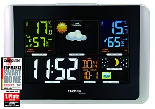 stación meteorológica, Temperatura Interior, Exterior Temperatura, Humedad, Aire Impresión, Tendencia Mostrar, Punto de rocío, Pantalla a Color, Radio Reloj, Fases Lunares, Color Negro Brillante