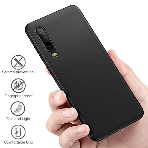 Whew Hülle Kompatibel Huawei P30, Soft TPU Schutzhülle Case - Schutz vor Kratzer, Staub und Scratch- Stoßfest Silikon Schwarz Matte Handyhülle Cover Kompatibel Huawei P30 - 4