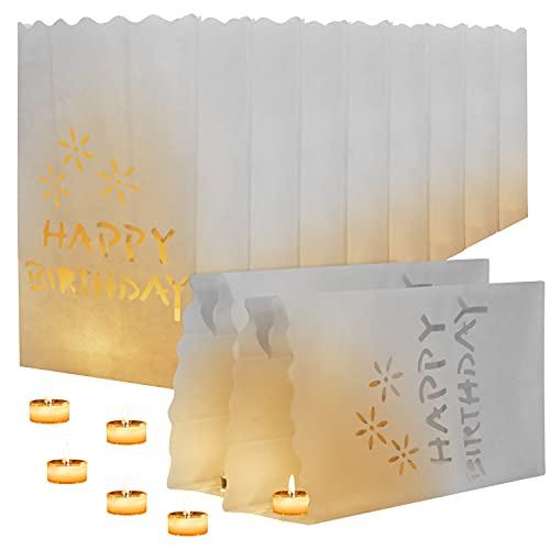 Kurtzy Lanterne di Carta Bianche (10pz) - Sacchetti Ignifughi per Candele - Lanterna Porta Candele Happy Birthday per Candele e Luci a LED/Senza Fiamma - Decorazione per Interni o Esterni per Feste