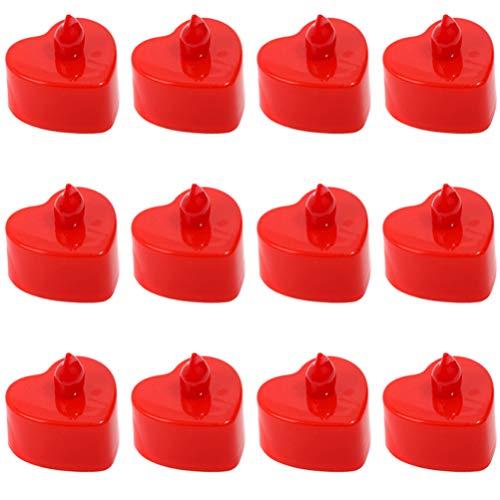 SOLUSTRE 48 Unids Corazón Luz de La Vela Luces de Té Led Electrónicas Velas Candelita Romántica para Bodas Decoraciones del Día de San Valentín