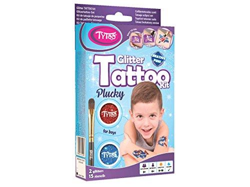 Tytoo Glitzertattooset für Jungs, mit 15 Schablonen - Hypoallergen, ohne Tierversuche hergestellt – für 8–18 Tage, temporäre Tattoos