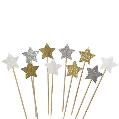 Anjing - 10 Adornos para Tartas Hechos a Mano con Purpurina para decoración de Pasteles y Helados, Estrellas Doradas, Blancas y Plateadas