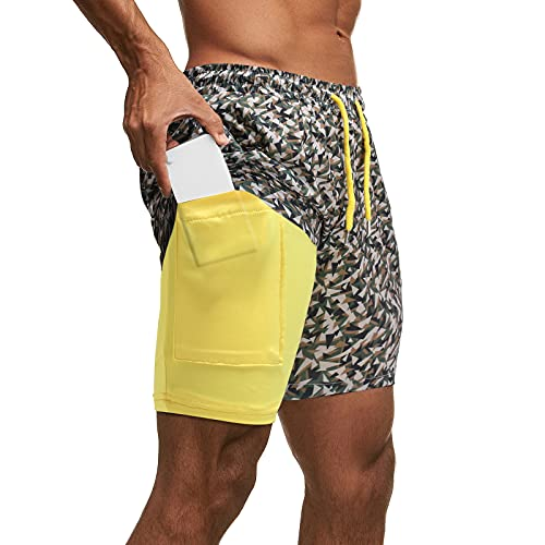 ZARU Herren Badeshorts, Kokospalme Druck Männer Breathable Badehose Kurze Strand Hosen Badebekleidung Shorts Sommer Sport Schwimmshorts (M, A)