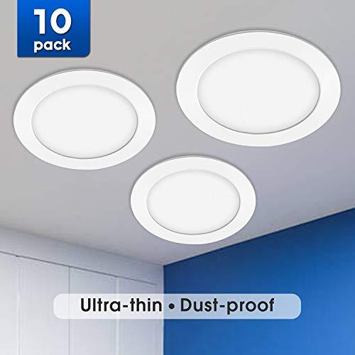 BAODE 9W 3000K LED Panel Leuchte Dimmbar Deckenlampe Rund Ultraslim Einbaustrahler Ø150mm Warmweiß(10er Pack)