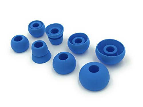 Blue Replacement Earbud Tips for Beats Powerbeats3 Wireless Stereo Headphones - Small, Medium, Large, and Double Flange (Blue)