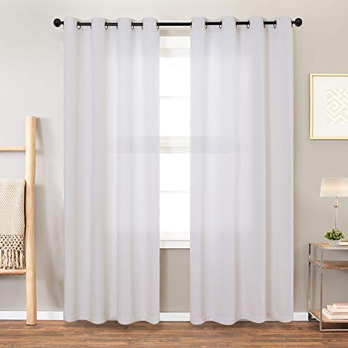 jinchan Linen Textured Light Filtering Curtains Bedroom Living Room Thermal Insulated Window Treatment Set (Single Panel, 63 Inch, White)