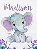 Personalized Baby Blanket with Name Custom Baby Blankets for Girls Baby Customized Blankets Baby Name Blanket Elephant Baby Blanket Personalized Baby Blankets for Girls with Name 30x 40 Inch
