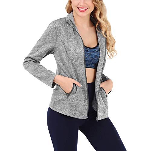 Damen Sportjacke,Luotuo Frauen Mode Einfarbig Lange Ärmel Sweatshirt Simple Beiläufig Reißverschluss Coat mit Tasche, Täglich Running Sport Outwear Bequem Atmungsaktiv