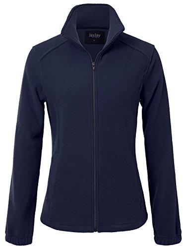 JayJay Women Ultra Soft Breathable Full-Zip Fleece Long Sleeve Jacket,Navy,S