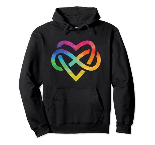 Corazón de acuarela arco iris Sudadera con Capucha