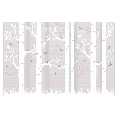 Kinderzimmer Fototapete - Birkenwald mit Schmetterlingen und Vögel - Tapete in Grau - Vliestapete Breit, Größe HxB: 255cm x 384cm