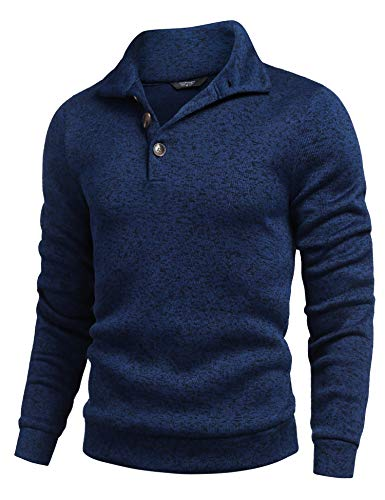 COOFANDY Men Turtneck Sweaters Slim Fit Long Sleeve Ribbed Knit Pullover Sweater (Large, 3- Navy Blue)