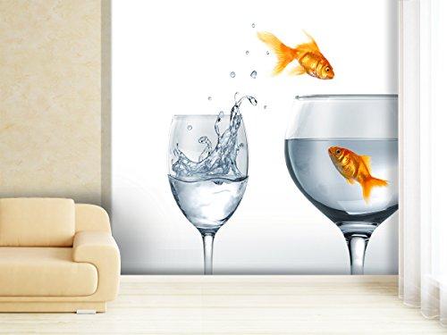 XXL-behang fotobehang Jumping Goldfish in verschillende maten - naar keuze als papier of vliesbehang