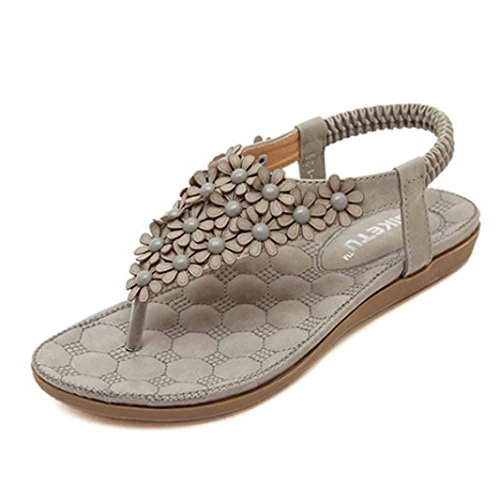 Elecenty Sandalen Damen Sommerschuhe,Frauen Bohemian Sommer Schuhe Solide Schuh Damenschuhe Flip Flops Shoes Sandaletten Frauen Flache Offene Elegante T-Strap Freizeitschuhe Strandschuhe (40, Grau)