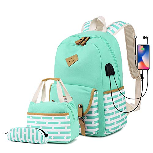 misognare Girls School Backpack Set Lightweight College Bookbag with USB Charging Port Casual Travel Daypack for Teens Boys Student (Green)