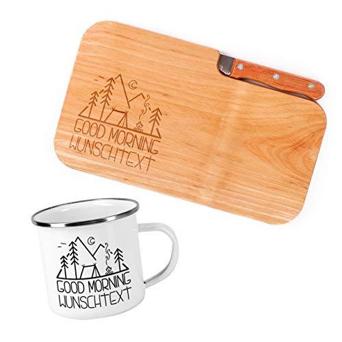 Herz & Heim® Frühstück Set für Camper mit Schneidebrettchen inklusive Messer und Emailletasse - perfekt für ein Outdoor Frühstück