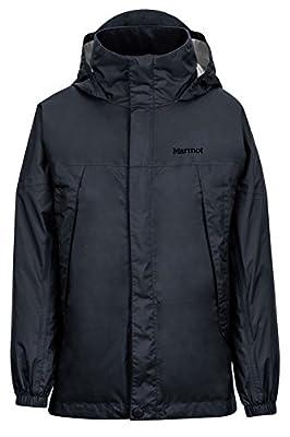 Marmot Boys' PreCip Lightweight Waterproof Rain Jacket, Jet Black, Large
