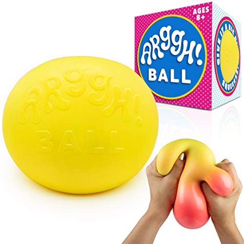 Power Your Fun Arggh Giant Stress Ball for Adults and Kids - Jumbo Anxiety Relief Ball Fidget Toy, Color-Changing Anti Stress Sensory Ball Squishy Toy for Girls and Boys (Yellow/Orange)