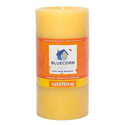 Bluecorn Beeswax 100% Pure Beeswax Aromatherapy Pillar Candle (3x6, Uplifting: Lavender, Geranium & Tangerine.)