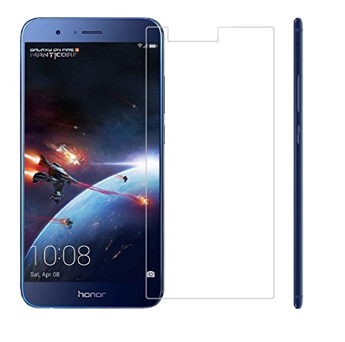 Mobizworld™ Premium ultra clear, 9H hardness,2.5D Curved, shatterproof, anti explosion, scratch free, bubble free, oil resistant, reduced fingerprint tempered glass screen protector glass for Huawei Honor 8 Pro