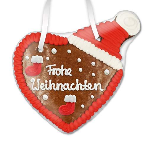 Lebkuchenherz mit Weihnachtsmütze 16cm - Frohe Weihnachten | Lebkuchenherzen als Weihnachtsgrüße Weihnachtsdeko Weihnachtsdekoration weihnachtliches Lebkuchen Herz von LEBKUCHEN WELT