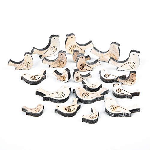 Logbuch-Verlag 21 kleine Vögel aus Holz - Streudeko Tauben braun weiß - Deko Bastelzubehör Frühling - Basteln mit Kindern - Tischdeko Ostern Hochzeit Frühling