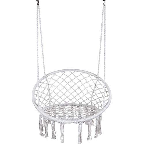 Hangstoel,Hangend Met Katoenen Touw Hangmat Schommelstoel Voor Binnen- En Buitengebruik,No Accessories