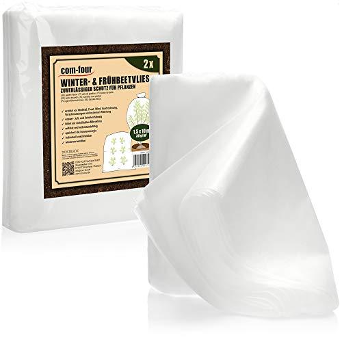 com-four® 2X Frühbeetvlies - Gartenvlies für den Pflanzenschutz - Wintervlies zum Abdecken von Pflanzen - je 1,5 x 10 m (02 Stück Frühbeetvlies 1.5x10m)
