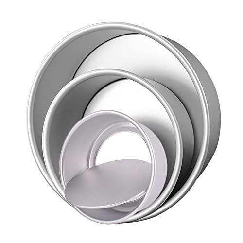 AISOO Tortiere Rotonde in Alluminio Set, Rotonda Tortiere Set Tortiera Rotonda Piccola con Fondo Rimovibile per Compleanni e Natale,Stampo per Dolci in Alluminio Anodizzato Set da 3 (10cm/15cm/17cm)