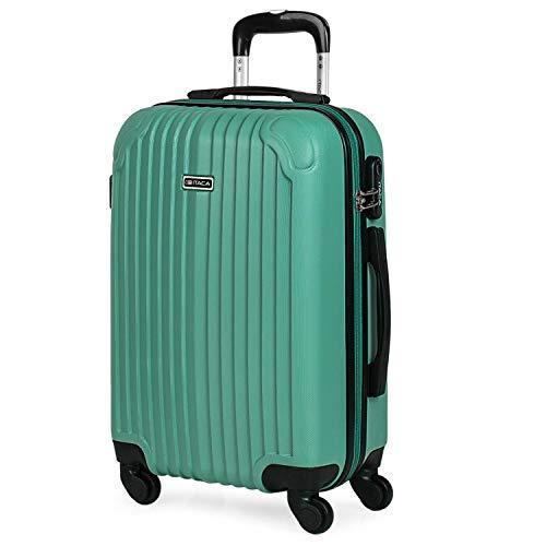 ITACA - Maleta de Viaje Cabina rígida 4 Ruedas 55 cm Trolley abs. Equipaje de Mano. pequeña cómoda y Ligera. Low Cost ryanair. Estudiante. Calidad y diseño. t71550, Color Verde Menta