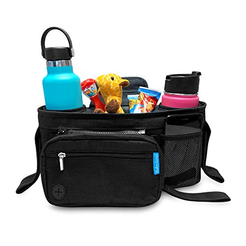 Babyland | Universal Stroller Organizer with Insulated Cup Holders and Portable Diaper Changing Pad. Diaper and Wipe Storage, Pockets for Phone, Snacks, Toys. Secure Fit and Compact Design for All Strollers