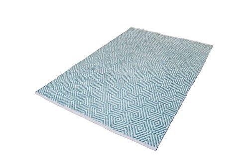 Wollteppich Teppich Wolle Azteken Muster Aztec Scandi Design Beige Grau Blau Teppich Wohnzimmer...