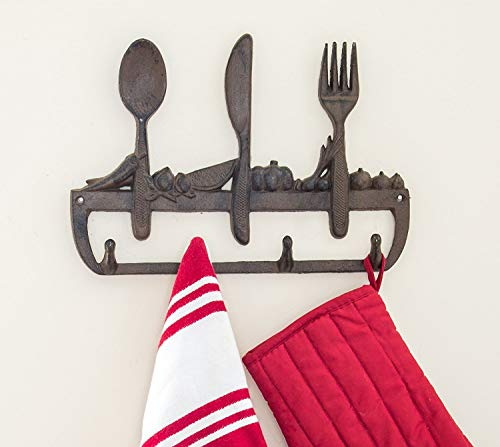 Cast Iron Wall Hanger for Kitchen - Old Fashioned Spoon, Knife and Fork with 3 Hooks - Decorative Cast Iron Kitchen Storage Towel Rack -11.8 x 8� CA-1504-23-BR