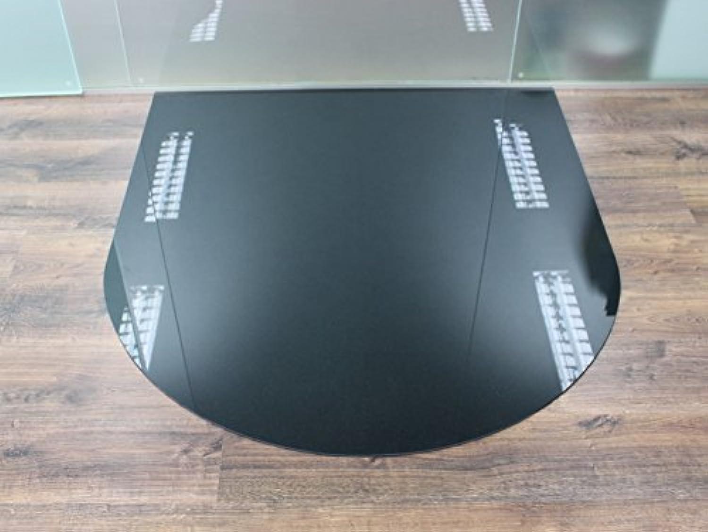Rundbogen 120x140cm Glas schwarz - XXL Funkenschutzplatte Kaminbodenplatte Glasplatte f. Kaminofen Ofenunterlage (Rundbogen schwarz 120x140cm mit Dichtung)