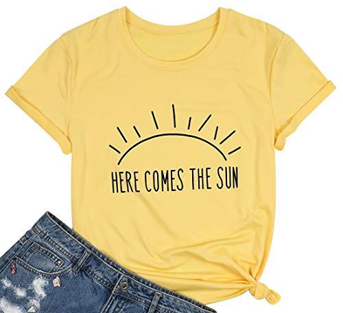 这里有太阳T恤夏季海滩T恤阳光图形印花假期衬衫顶部适用于女性尺寸M(黄色)