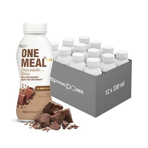 NUPO One Meal + Prime Chocolate Bliss – Diätdrink zum Abnehmen I Leckerer Mahlzeitersatz zum Abnehmen I 12 x 330ml I ca. 200 kcal I Ohne Zuckerzusatz I Enthält Nährstoffe, Vitamine & Mineralien