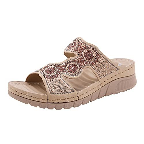 Scarpe col Tacco Donna Moda Sandali con Zeppa Plateau Wedge High Heels (G57-Beige,38)