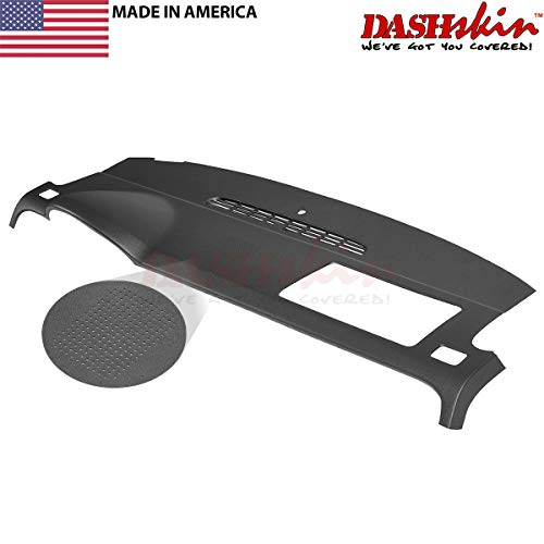 DashSkin Molded Dash Cover Compatible with 07-14 GM SUVs w/Dash Speaker in Black/Ebony (USA Made)