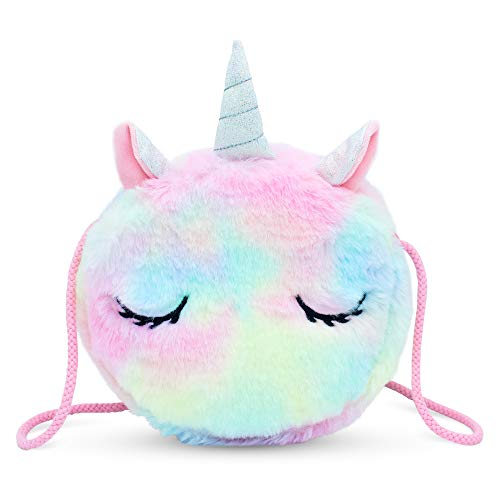 VAMY kids Rainbow Unicornio Bolso para niñas. Muy suave y agradable. Tamaño de bolso: 17 x 17 x 4 cm.