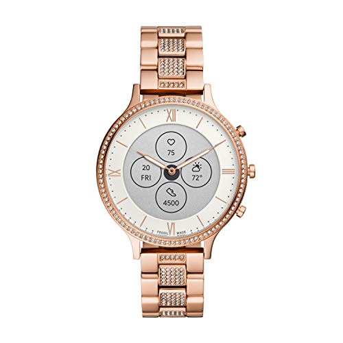 Fossil Women's 42mm Charter Stainless Steel Hybrid HR Smart Watch, Color: Rose Gold Glitz (Model: FTW7012)