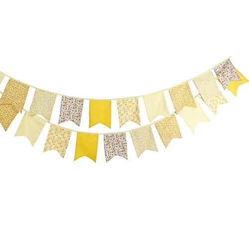 FirstKitchen 3.5M/11Feet Lovely Bunting Cotton Flag Banner Pennant Flag Garland Fabric Triangle Flags Double-Sided Vintage Cloth Shabby Chic Decoration for Birthday Parties,Ceremonies,Bedrooms
