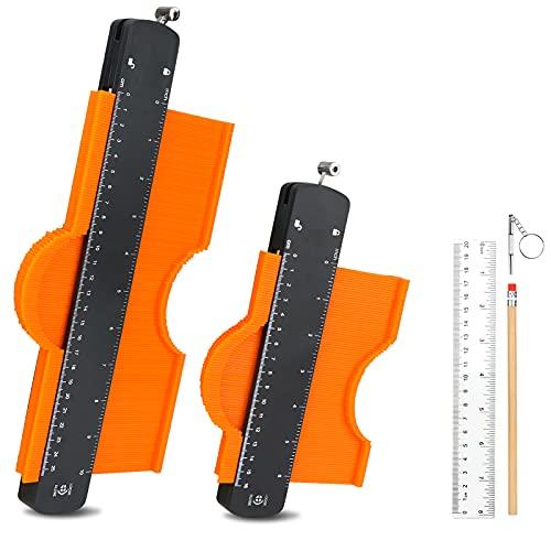 Medidor de contorno con bloqueo y copiador de contorno, Medidor de perfil duplicador copiar formas irregulares trazar plantilla herramienta de medición para Esquinas Irregulares Curvas y Laminado