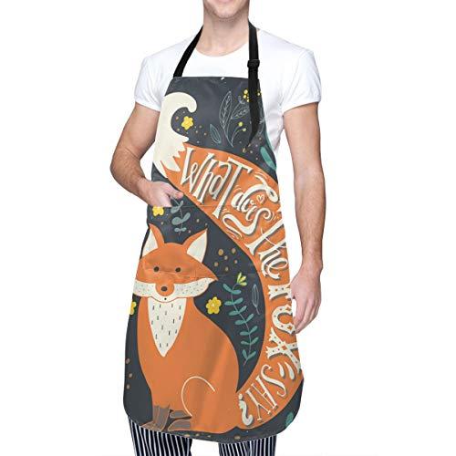 COFEIYISI Delantal de Cocina Cita Dibujos Animados Fox Gracioso Animal Print Delantal Chefs Cocina para Cocinar/Hornear