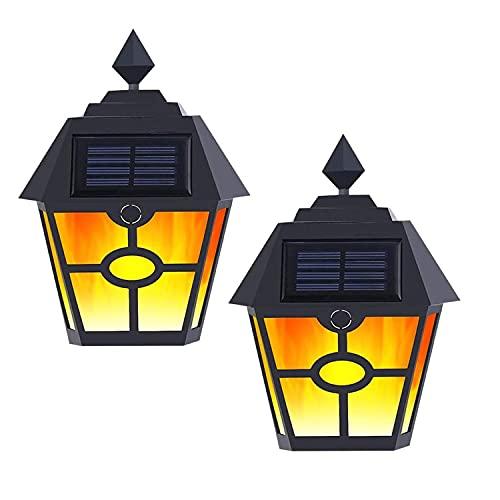 Luz de calle solar para exteriores, impermeable, sensor de movimiento de seguridad, luz de llama de jardín, apertura automática/cierre al amanecer y atardecer, puerta de patio y escaleras [2 piezas]